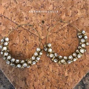 Anthropologie Crystal & Gold Hoops ❤️